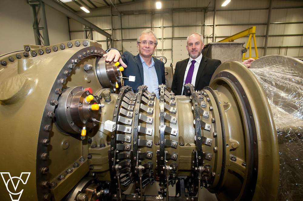 Turbine Efficiency's CEO Alan Hawkins, left, and Yorkshire Bank's business development manager David Burgess  pictured at Turbine Efficiency's premises in Witham St Hughs, Lincolnshire.<br /> <br /> Date: November 27, 2014