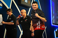 Nick Kenny (Wales), reacts, during the William Hill World Darts Championship at Alexandra Palace, London, United Kingdom on 20 December 2020.