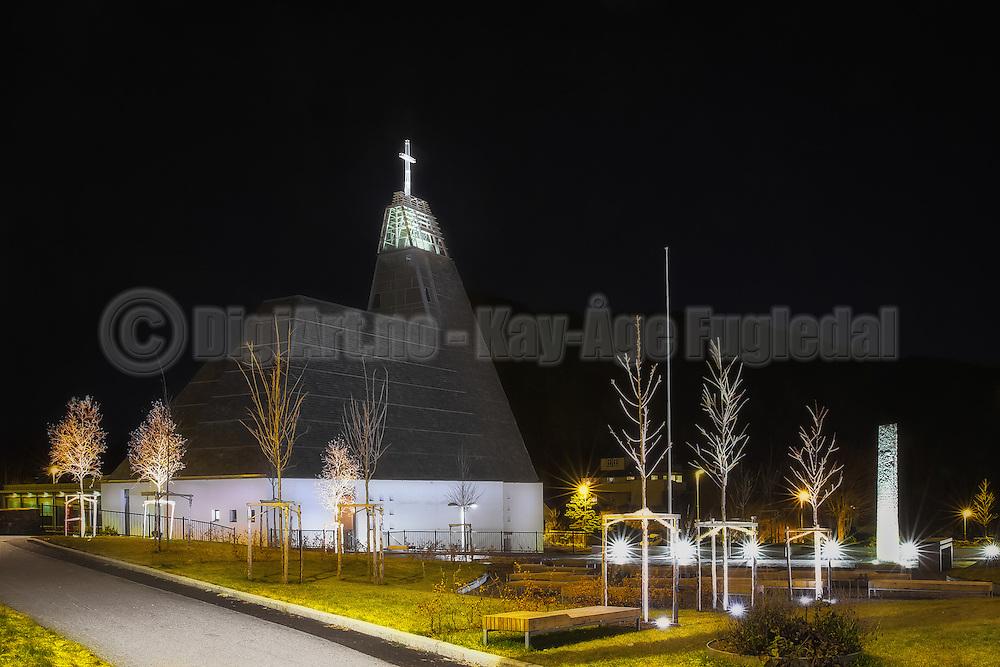 Ytre Herøy Church by night, Fosnavåg, Norway   Ytre Herøy Kirke i natten, Fosnavåg, Norge