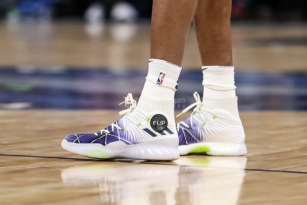 Feb 15, 2018; Minneapolis, MN, USA; The shoes of Minnesota Timberwolves forward Andrew Wiggins (22) honoring former coach Flip Saunders during the first quarter against the Los Angeles Lakers at Target Center. Mandatory Credit: Brace Hemmelgarn-USA TODAY Sports