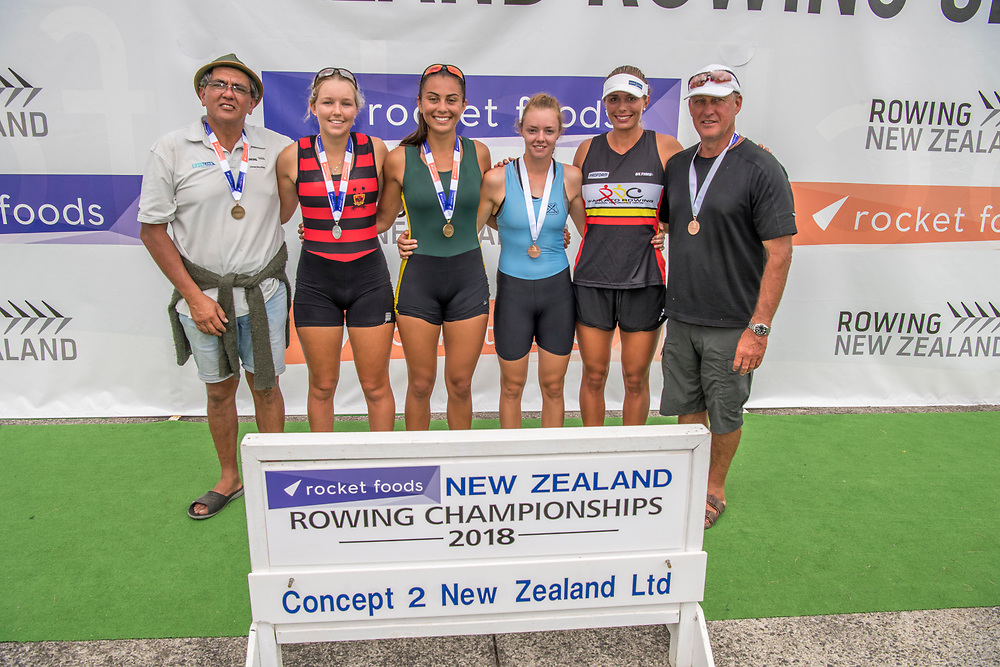 Event 64 womens under-20 single sculls  1st. Ashburton   8:12.22 Veronica Wall 2nd. Auckland RPC   8:20.51 Alice Grave 3rd. Whangarei   8:25.68 Shannon Cox <br /> <br /> Podium presentations at the New Zealand Rowing Champs, Lake Karapiro, Cambridge Friday 16 and Saturday 17 February 2018 Copyright photo © Steve McArthur / @RowingCelebration