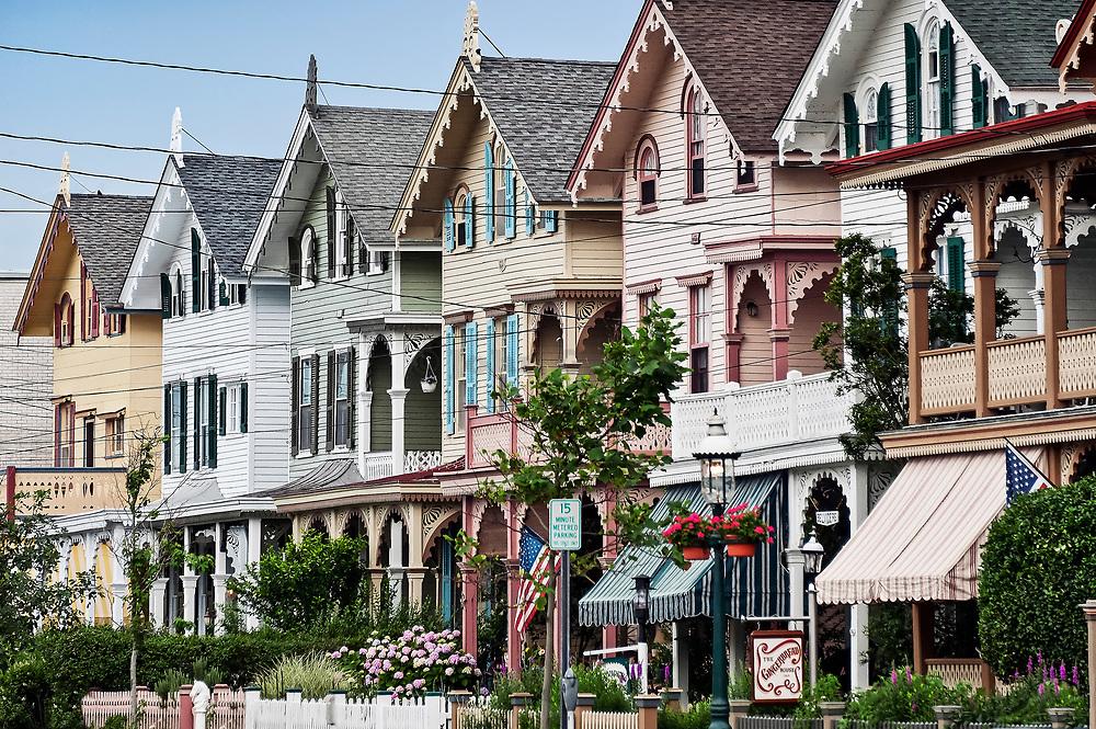 Victorian houses, Gurney Street, Cape May, NJ, USA