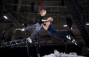 """Aerial acrobats Silja Dos Reis and Jérôme Sordillon share a mid-air embrace during rehearsal for """"Cirque du Soleil: CRYSTAL"""" at the Alliant Energy Center in Madison, WI on Wednesday, May 1, 2019."""