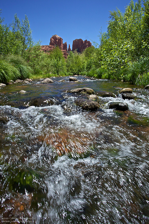 Oak Creek and Cathedral Rock in Red Rock State Park, Verde Valley, Sedona, Arizona