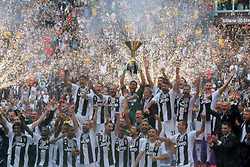May 19, 2018 - Turin, Piedmont, Italy - Juventus FC players celebrate the winning of the Italian championship 2017-2018 at the Allianz stadium on May 19, 2018 in Turin, Italy. (Credit Image: © Massimiliano Ferraro/NurPhoto via ZUMA Press)