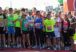 © Licensed to London News Pictures. 21/04/2013. London, England. Celebrity start with Katherine Jenkins, Sophie Anderton and Amy Childs. Celebrity Runners at a photocall before the start of the Virgin London Marathon 2013 race. Many wore black ribbons to pay their respect for those who died or were injured in the Boston Marathon. Photo credit: Bettina Strenske/LNP