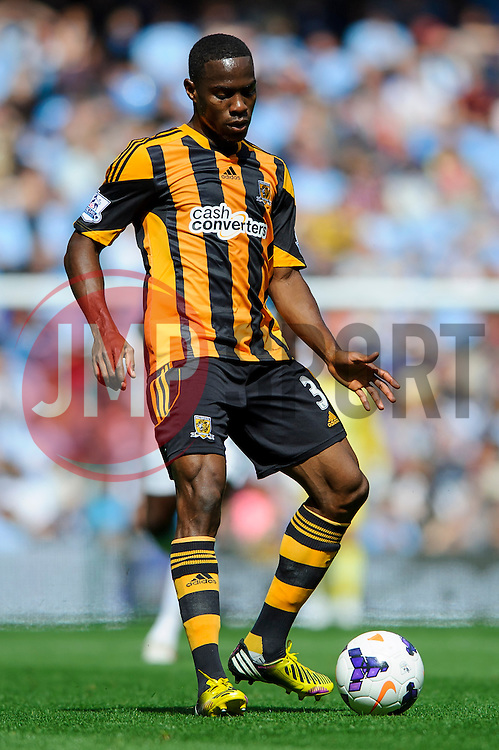 Hull Defender Maynor Figueroa (HON) in action during the first half of the match - Photo mandatory by-line: Rogan Thomson/JMP - Tel: Mobile: 07966 386802 31/08/2013 - SPORT - FOOTBALL - Etihad Stadium, Manchester - Manchester City v Hull City Tigers - Barclays Premier League.