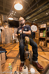 Boot-making demonstration at the White's Boots booth at the Mooneyes Yokohama Hot Rod & Custom Show. Yokohama, Japan. December 6, 2015.  Photography ©2015 Michael Lichter.
