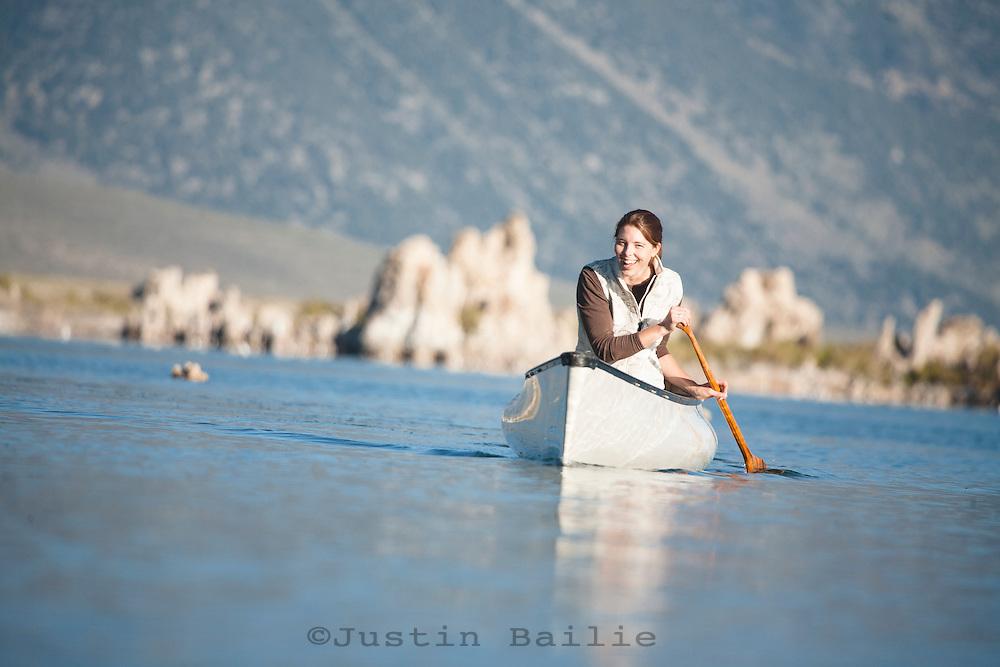 Arya Degenhardt canoeing on Mono Lake. Lee Vining, CA