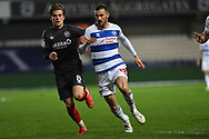 Brentford Midfielder Mathias Jensen(8) and QPR Defender Dominic Ball(12) during the EFL Sky Bet Championship match between Queens Park Rangers and Brentford at the Kiyan Prince Foundation Stadium, London, England on 17 February 2021.