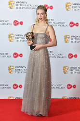 Vanessa Kirby with her BAFTA award for Supporting Actress at the Virgin TV British Academy Television Awards 2018 held at the Royal Festival Hall, Southbank Centre, London.