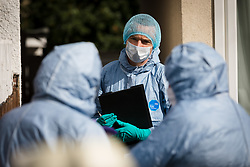 © Licensed to London News Pictures. 30/06/2019. Croydon, UK. Police forensic officers at the scene in Raymead Avenue, Thornton Heath, Croydon where a women, aged 26 who was approximately eight months pregnant was was stabbed to death in the early hours of Saturday 29th June. The woman died at the scene and her baby is now critically ill in hospital. A 37-year-old man has been arrested on suspicion of murder and is in custody. Photo credit: Vickie Flores/LNP