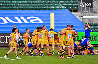 Rugby Union - 2019 / 2020 Gallagher Premiership - Bath vs Wasps<br /> <br /> Wasps players celebrate at the final whistle after their 27-23 victory, at the Recreation Ground.<br /> <br /> COLORSPORT/ASHLEY WESTERN