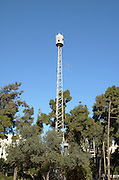 "Israel, Tel Aviv, Gan Meir, Air raid siren originally manufactured in Germany by ""H?rmann GmbH M?nchen"" between 1968 and 1975,"