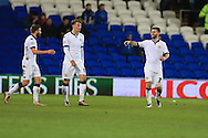 Mirco Antenucci of Leeds Utd (r) celebrates after he scores his teams 2nd goal. Skybet football league championship match, Cardiff city v Leeds Utd at the Cardiff city stadium in Cardiff, South Wales on Tuesday 8th March 2016.<br /> pic by  Andrew Orchard, Andrew Orchard sports photography.