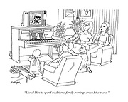 """""""Lionel likes to spend traditional family evenings around the piano."""" (a father and his children sit near a piano while watching a TV ontop of it)"""