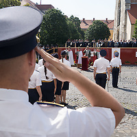 Hungarian Prime Minister Viktor Orban (C) delivers his speech after freshly graduated officers of the National University of Public Service take their oath of office in the Castle of Buda in Budapest, Hungary on June 27, 2020. ATTILA VOLGYI