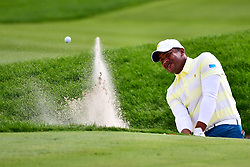 September 30, 2017 - Jersey City, New Jersey, U.S - Jonathan Vegas of the International Team hits one out of the sand trap during Saturday matches of the Presidents Cup at Liberty National Golf Club in Jersey City, NJ  (Credit Image: © Brian Ciancio via ZUMA Wire)