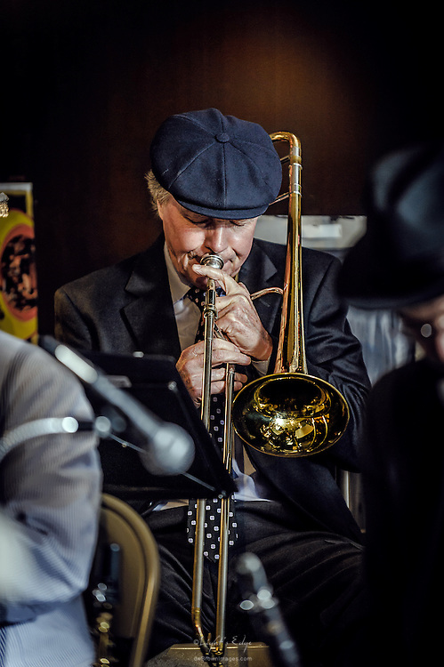 James Gicking on trombone with The Blackbird Society Orchestra at The Bus Stop Music Cafe in Pitman, NJ.