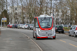 December 18, 2018 - Lille, France - An autonomous shuttle has entered service of the University District the scientific city, for a one year experiment, in Lille, France, on 18 December 2018. (Credit Image: © Thierry Thorel/NurPhoto via ZUMA Press)