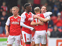 Fleetwood Town's Chris Long is congratulated on scoring his team's first goal<br /> <br /> Photographer Dave Howarth/CameraSport<br /> <br /> The EFL Sky Bet League One - Fleetwood Town v Coventry Town - Saturday 3 September 2016 - Highbury Stadium - Fleetwood<br /> <br /> World Copyright © 2016 CameraSport. All rights reserved. 43 Linden Ave. Countesthorpe. Leicester. England. LE8 5PG - Tel: +44 (0) 116 277 4147 - admin@camerasport.com - www.camerasport.com