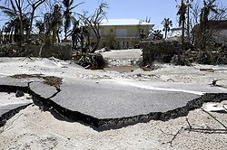 Hurricane Irma buckled the roadway and pushed sand over Long Beach Drive on Big Pine Key, FL, USA, making the road impassible for vehicles on Tuesday, September 12, 2017. Photo by Taimy Alvarez/Sun Sentinel/TNS/ABACAPRESS.COM