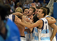 27/08/04 - ATHENS  - GREECE -  - BASKETBALL SEMIFINAL MATCH   - Indoor Olympic Stadium - <br />ARGENTINA win (89) over USA United States of America (81) <br />Argentine celebration after win the match.<br />In the right PEPE SANCHEZ and EMANUEL GINOBILI and ANDRES NOCIONI.<br />© Gabriel Piko / Argenpress.com / Piko-Press