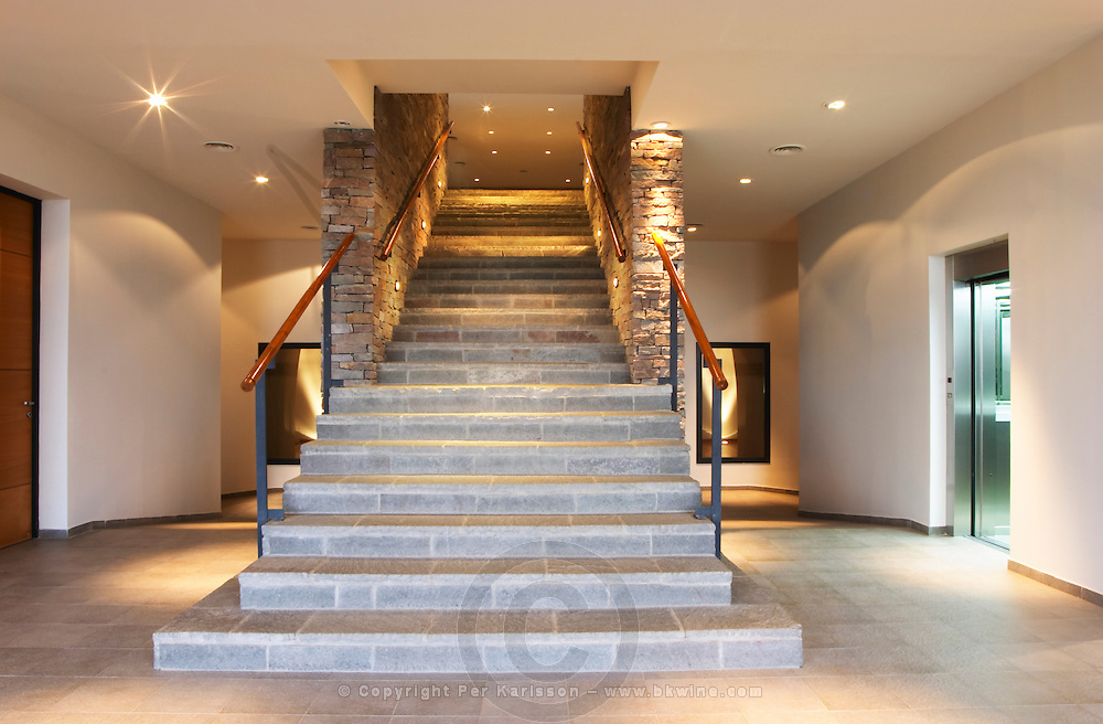 The stone stair case leading up to the winery Bodega NQN Winery, Vinedos de la Patagonia, Neuquen, Patagonia, Argentina, South America