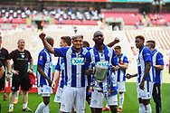 Thatcham Town players celebrate winning the FA Vase match (1-0) between Stockton Town and Thatcham Town at Wembley Stadium, London, England on 20 May 2018. Picture by Stephen Wright