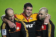Ben May from the Chiefs leaving the field after injuring his knee during the Investec Super 15 Rugby match, Chiefs vs Sharks, at Waikato Stadium, Hamilton, New Zealand, Friday 16 March 2011. Photo: Dion Mellow/photosport.co.nz