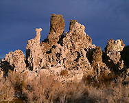CAEM_04 - USA, California, Inyo National Forest, Mono Basin National Forest Scenic Area, Tufa tower and dark, storm clouds in early morning at South Tufa Area.