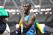 Usain Bolt of Jamaica after winning and celebrating the 100m during the Sainsbury's Anniversary Games at the Queen Elizabeth II Olympic Park, London, United Kingdom on 24 July 2015. Photo by Phil Duncan.