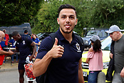 AFC Wimbledon attacker Egli Kaja (21) arriving during the Pre-Season Friendly match between AFC Wimbledon and Queens Park Rangers at the Cherry Red Records Stadium, Kingston, England on 14 July 2018. Picture by Matthew Redman.