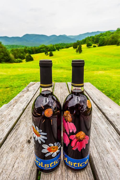 Handpainted bottles of Solstice, red wine, Blue Ridge Vineyard, Eagle Rock, Botetourt County, near Roanoke, Virginia USA.