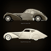 For the lover of old classic cars, this combination of a Bugatti 57-SC Atlantic 1938 and Delage D8-120 Aerosport 1938 is truly a beautiful work to have in your home.<br /> The classic Bugatti 57-SC Atlantic and the beautiful Delage D8-120 are among the most beautiful cars ever built.<br /> You can have this work printed in various materials and without loss of quality in all formats.<br /> For the oldtimer enthusiast, the series by the artist Jan Keteleer is a dream come true. The artist has made a fine selection of the very finest cars which he has meticulously painted down to the smallest detail. – –<br /> -<br /> <br /> BUY THIS PRINT AT<br /> <br /> FINE ART AMERICA<br /> ENGLISH<br /> https://janke.pixels.com/featured/bugatti-57-sc-atlantic-1938-and-delage-d8-120-aerosport-1938-jan-keteleer.html<br /> <br /> WADM / OH MY PRINTS<br /> DUTCH / FRENCH / GERMAN<br /> https://www.werkaandemuur.nl/nl/shopwerk/Bugatti-57-SC-Atlantic-1938-en-Delage-D8-120-Aerosport-1938/755134/132?mediumId=1&size=60x60<br /> –