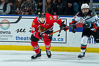 KELOWNA, BC - FEBRUARY 8: Tyson Kozak #18 of the Portland Winterhawks skates against the Kelowna Rockets at Prospera Place on February 8, 2020 in Kelowna, Canada. (Photo by Marissa Baecker/Shoot the Breeze)