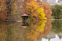 A rustic gazebo and autumn reflection along The Lake in Central Park