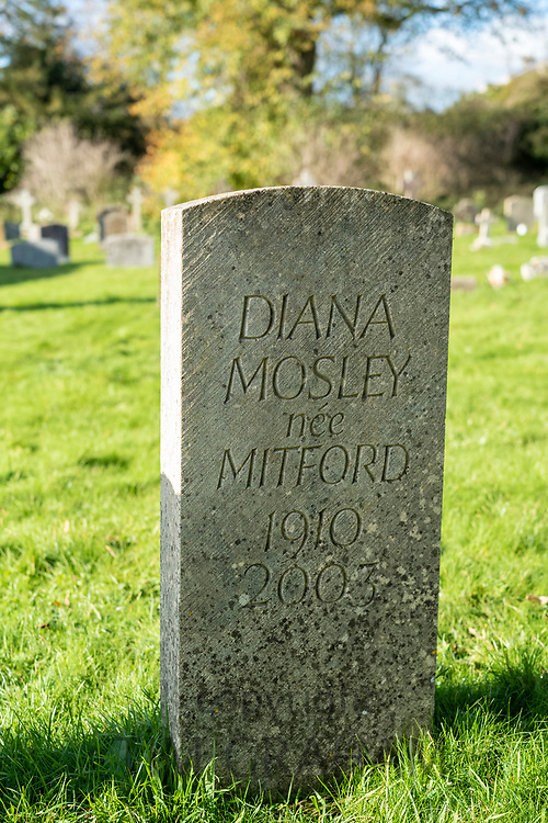 Headstones of the graves of the famous Mitford family - Diana Mosley wife of Oswald Mosley (nee Mitford) and mother of Max Mosley- in the churchyard of St Mary's Church in Swinbrook in The Cotswolds