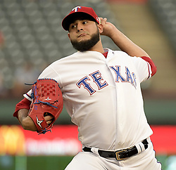 September 13, 2017 - Arlington, TX, USA - Texas Rangers starting pitcher Martin Perez works during the first inning against the Seattle Mariners at Globe Life Park in Arlington, Texas, on Wednesday, Sept. 13, 2017. (Credit Image: © Max Faulkner/TNS via ZUMA Wire)