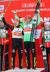 20.02.2016, Salpausselkae Stadion, Lahti, FIN, FIS Weltcup Nordische Kombination, Lahti, Team Sprint, Siegerehrung, im Bild v.l.: Bernhard Gruber (AUT), Fabian Riessle, Johannes Rydzek (GER), Philipp Orter (AUT) // f.l.: Bernhard Gruber of Austria, Fabian Riessle, Johannes Rydzek of Germany, Philipp Orter of Austria celebrate during Winner Award Ceremony Team Sprint Race of FIS Nordic Combined World Cup, Lahti Ski Games at the Salpausselkae Stadium in Lahti, Finland on 2016/02/20. EXPA Pictures © 2016, PhotoCredit: EXPA/ JFK
