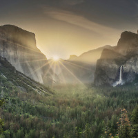 Spring sunrise over Yosemite Valley from Tunnel View, Yosemite National Park, California.