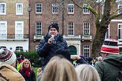 London, UK. 26th January, 2019. Peter Hall, founder of the London Committee for the Abolition of Whaling, addresses animal rights campaigners preparing to take part in the Japan: No Whaling march from Cavendish Square to the Japanese embassy following Japan's announcement that it withdraw from the International Whaling Commission (IWC) and resume commercial whaling with effect from July 2019. The march was organised by the London Committee for the Abolition of Whaling.