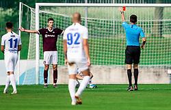 Red card for Žan Kumer of Triglav during football match between NK Triglav and NK Celje in 7th Round of Prva liga Telekom Slovenije 2019/20, on August 25, 2019 in Sports park, Kranj, Slovenia. Photo by Vid Ponikvar / Sportida