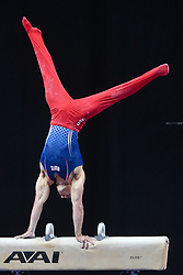 August 18, 2018 - Boston, Massachussetts, U.S - SAM MIKULAK competes on the pommel horse during the final round of competition held at TD Garden in Boston, Massachusetts. (Credit Image: © Amy Sanderson via ZUMA Wire)