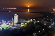 Above the town of Burgas at night