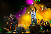Shaggy and a guest artist share the stage at The Biolife Sounds of Reggae at the Barclays Center.