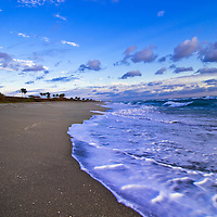 Eary morning scene, vertical of surf at Juno Beach, Florida.