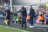 Claudio Ranieri, the Leicester City manager instructing his players to calm down during the 1st half. The Emirates FA Cup 5th round match, Millwall v Leicester City at The Den in London on Saturday 18th February 2017.<br /> pic by John Patrick Fletcher, Andrew Orchard sports photography.