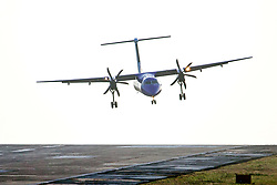 © Licensed to London News Pictures. 03/02/2020. Leeds UK. A Flybe aircraft arriving from Belfast City struggles to land in strong winds today at Leeds Bradford airport in Yorkshire. Photo credit: Andrew McCaren/LNP