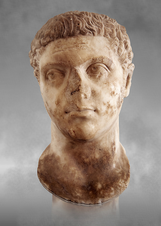 Roman sculpture of the Emperor Caracalla, excavated from Thuburbo-Majus, sculpted circa 211-217AD. The Bardo National Museum, Tunis, Inv No: C. 1347. Against a grey art background. .<br /> <br /> If you prefer to buy from our ALAMY STOCK LIBRARY page at https://www.alamy.com/portfolio/paul-williams-funkystock/greco-roman-sculptures.html . Type -    BARDO    - into LOWER SEARCH WITHIN GALLERY box - Refine search by adding a subject, place, background colour, museum etc.<br /> <br /> Visit our CLASSICAL WORLD HISTORIC SITES PHOTO COLLECTIONS for more photos to download or buy as wall art prints https://funkystock.photoshelter.com/gallery-collection/The-Romans-Art-Artefacts-Antiquities-Historic-Sites-Pictures-Images/C0000r2uLJJo9_s0c